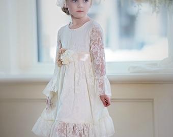 Flower girl dress, girl lace dress, first communion dress , ivory lace dress,Country Rustic flower girl dress, junior bridesmaids