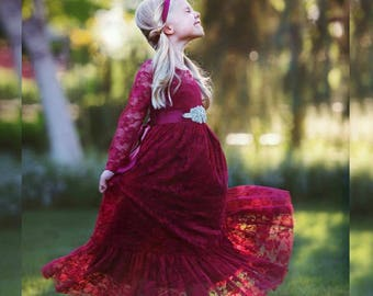 b1b547869a21c Burgundy lace flower girl dress, girls lace dresses,baby girl dress, long  sleeve ,country,Red Christmas, Cranberry Rustic flower girl dress,