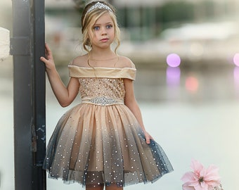 Christmas Ornament Dress for Girls Holiday Personalized Toddler Girl Holiday Dress Gold Sequin Collar Girls Holiday T-Shirt