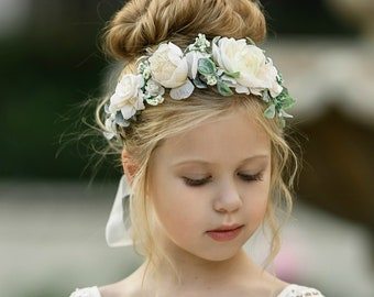 ivory headband flower girl headband halo pearl headband Navy and ivory headband navy headband vintage headband floral headband