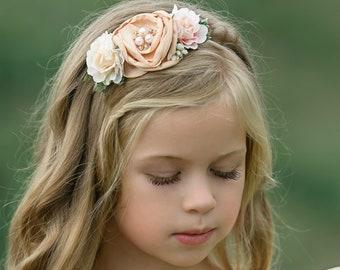Girls Hair Accessories Baby Headband Wedding Hair Rose Flower Headband Baby Bows Christening- Christening Headband Flower Crown