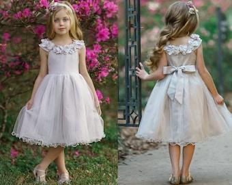 Tulle Flower girl dress, Flower girl Dresses, Rustic Flower girl Dress, Girls Dress, Ivory Flower girl dress,Country flower girl 19