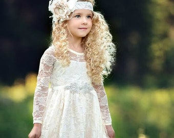 01d1082f3d0c6 Flower girl dress,Flower girl dresses, flower girl lace dresses, ivory lace  dress, Country Rustic flower girl dress,long sleeve lace dress,