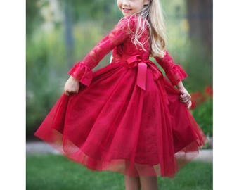 lace flower girl dress red tulle lace flower girl dress flower girl dresses long sleeve dress toddler rustic baby girl christmas dress - Christmas Dresses