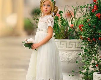 4537c2e2c Lace flower girl dress