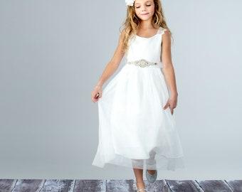 a0278afcd86a Flower girl dress, White Tulle Girls Dress, First Comunnion Dress, Girls  Special Ocassion Dress, Flower girl dresses, Baby Toddler Dress