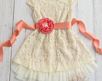 Coral Flower Girl Lace Dress