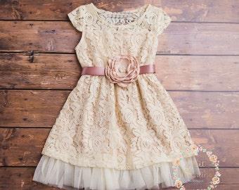 Cream Flower Girl Dress Lace Baby Rustic Country DressEaster Dressjunior Bridesmaidlace