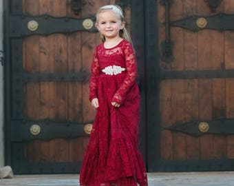 Burgundy lace flower girl dress girls lace dressesbaby girl  d3a3e49d1660