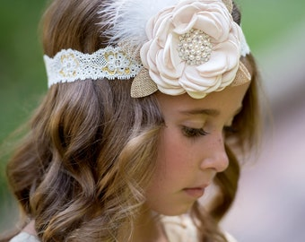 Baby Accessories Baby Girl Big Flower Headband Light Brown Beige Color With Rhinestone Clothing, Shoes & Accessories