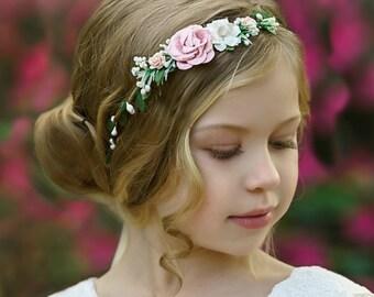 Toddler Hair Wreath Peach and Blush Flower Crown Floral Hair Piece Leaf Hair Garland Floral Crown Girls Flower Crown Wedding Headpiece