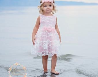 ad6a23d98422 Flower girl dress, Pink girls dress , girls lace dress, easter dress, pink  lace dress, rustic flower girl dress, birthday dress,Pink dress