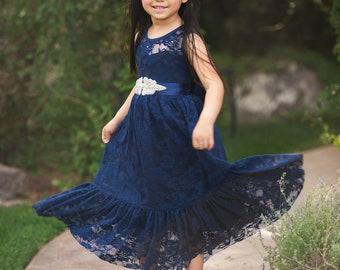 fcce7c7de Navy Blue Flower girl dress, Flower girl dresses, Easter girls lace dress,  Country lace dress, Navy lace dress, Rustic flower girl dress.