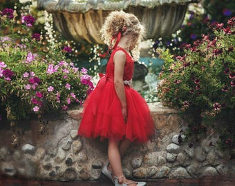 Girls red dress | Etsy