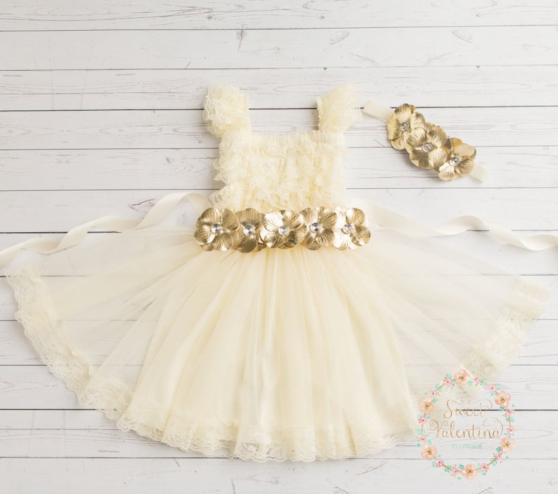 17b953a5b470 CLEARANCE Baby dress Ivory lace dress Ivory and gold lace