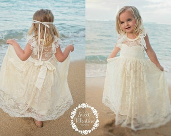 Lace girl dress, flower girl dress, flower girl lace dresses, country lace dress, cream toddler dress, ivory lace dress, Rustic flower girl