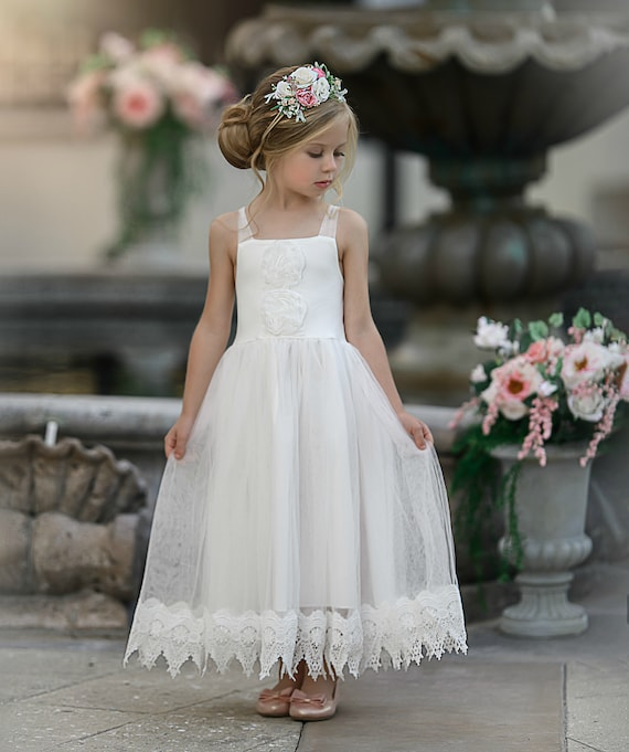 low cost sneakers for cheap biggest discount Flower girl dress, boho flower girl dress, rustic Ivory flower girl dress,  flower girl dresses, beach wedding flower girl dress, Lace Dress