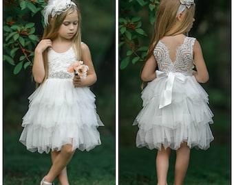 Off White Flower Girl Dress, Flower girl dresses, tulle flower girl dress, rustic lace flower girl dress, Tulle tutu flower girl dress. 163
