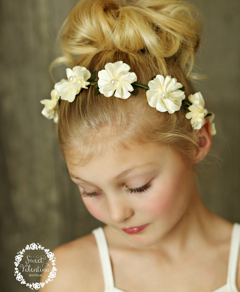 Baby Headbands Flower Girl Headband Girls Flower Crown Flower Halo,Ivory Flower Crown