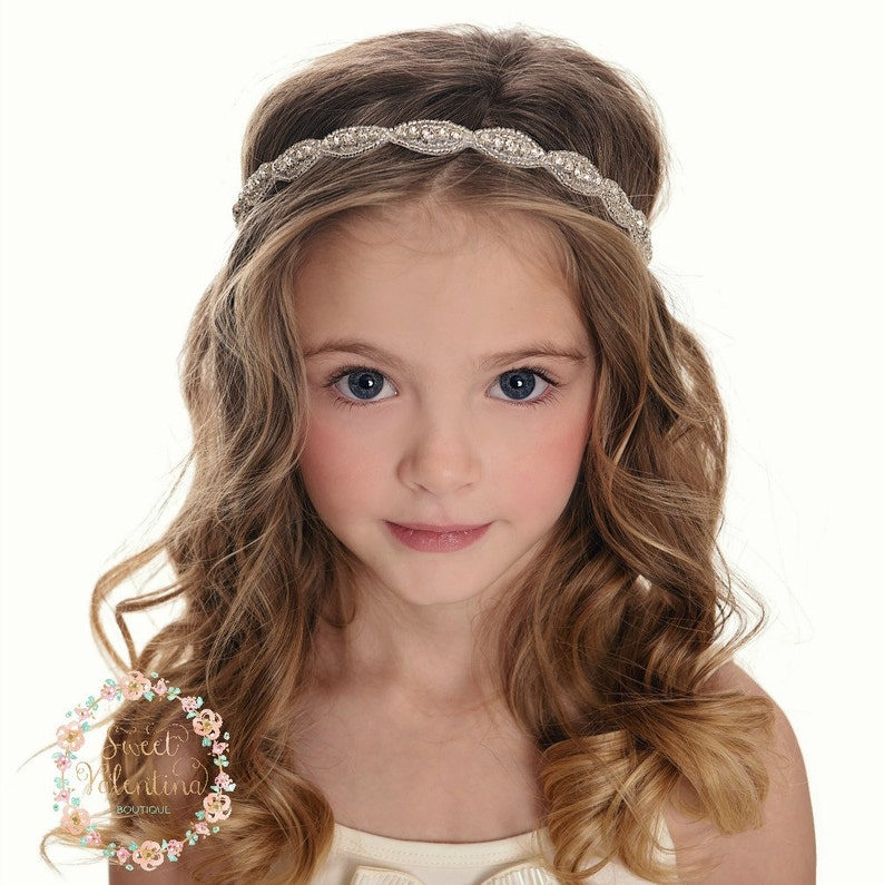 Rhinestone bridal headband wedding headband Flower Girl image 0
