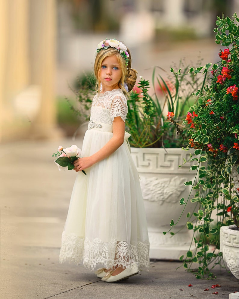 246e18cd0aec5 Lace Flower girl dress, Ivory Rustic flower girl dress, Communion dress,  Flower girl dresses, Bohemian flower girl dress, Ivory lace dress