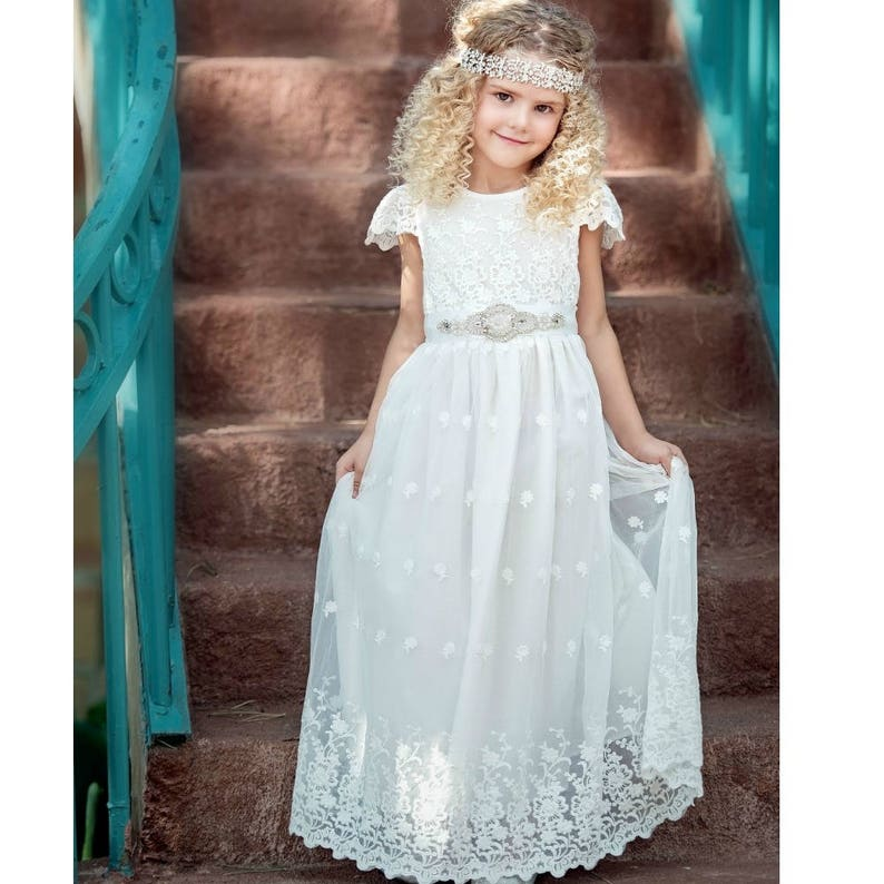 3ff78fe7bba Off White Flower girl dress Communion Dress lace flower girl