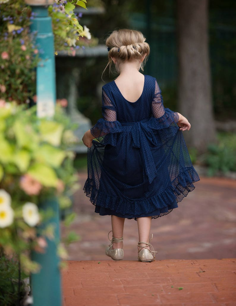 022830ec92f Navy blue flower girl dress flower girl dresses Rustic