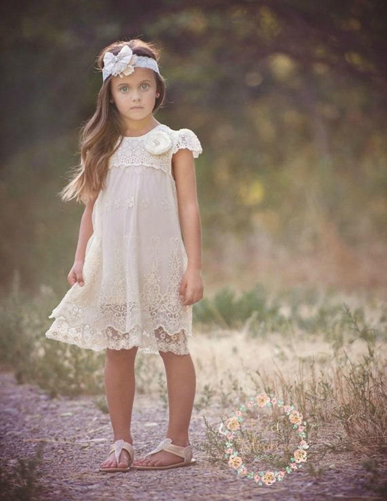 4ec3f7194349 Ivory lace dress Baptism girlrustic flower girl dress girls