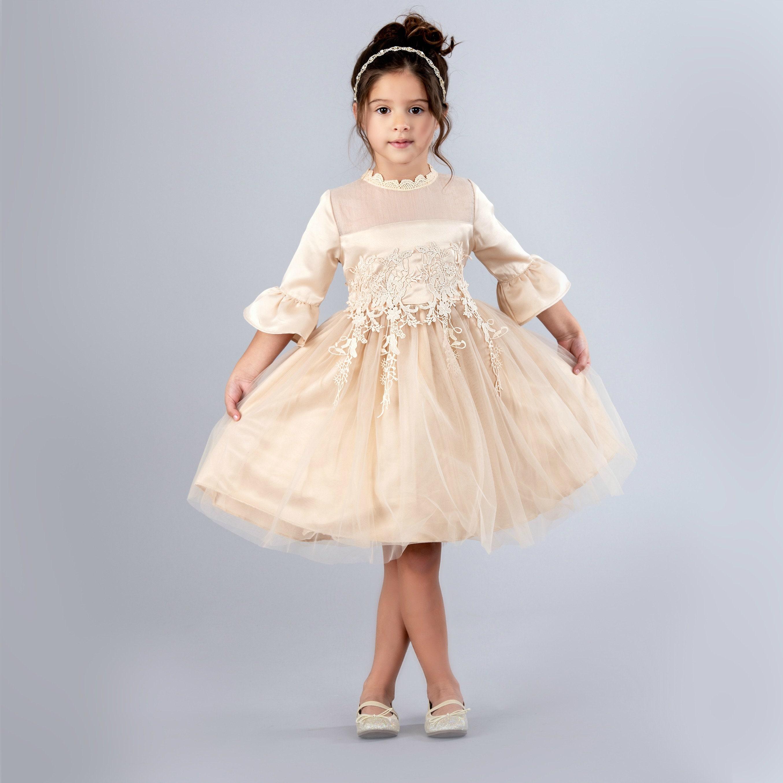 8cdf8585885 Lace Flower girl dress Champagne Flower girl dresses Rustic