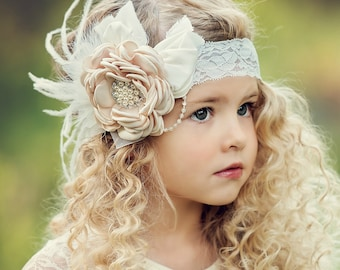 Girls Headbands, Flower feathers headband girl headband,couture headband, Baby girls headband Baby headbands lace headband Hair Bows wedding