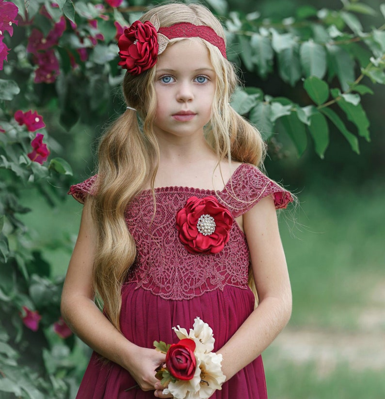 baby girl lace dress Burgundy Lace Flower girl dress Tulle Rustic flower girl dress Baptism dress Flower girl dresses Christmas dress
