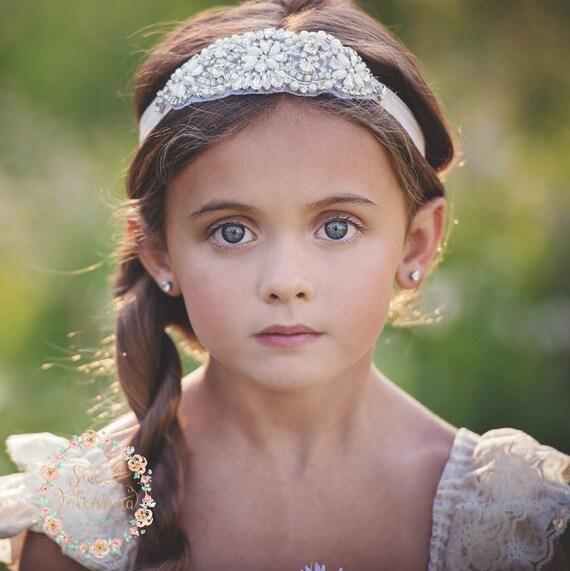 Flower Girl Headband Rhinestone Headband Bridal Headband  cb13bc153ce