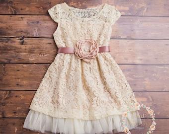 Navy blue flower girl dress rustic flower girl dress country cream flower girl dress lace baby dress rustic flower girl dress country flower mightylinksfo