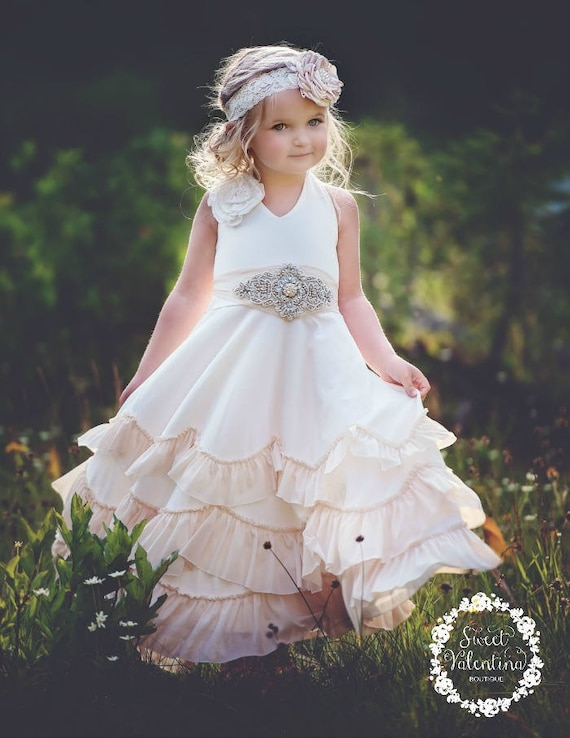 biggest discount vast selection amazing selection Flower girl dress, boho flower girl dress,rustic Ivory flower girl dress ,  flower girl dresses, beach wedding flower girl dress, champagne