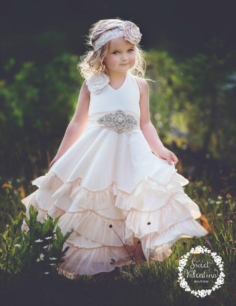 c3c129e00 Flower girl dress boho flower girl dressrustic Ivory flower | Etsy