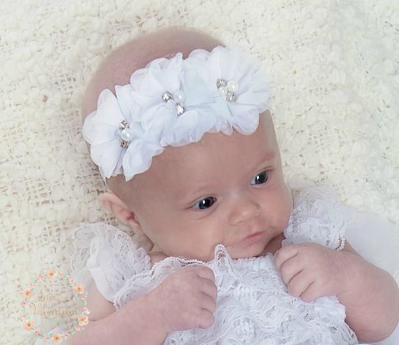 bow tie baby headband is handmade white baby headband Headbands baby girl baptism ceremony plumetis tulle baby headband