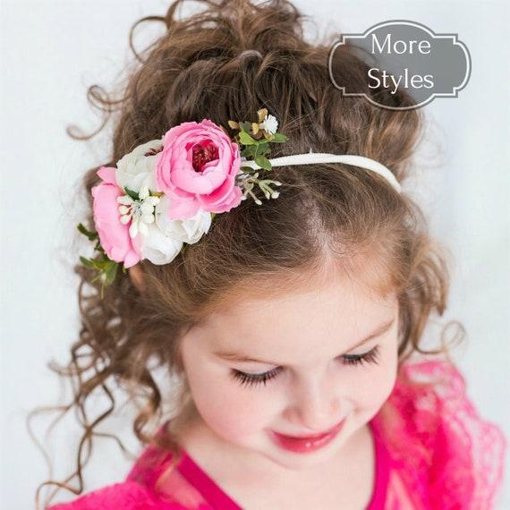 flower crown headband Baby girl headband,floral nylon headband Infant Headband,Hair bows nylon headbands,Newborn headband Baby headbands