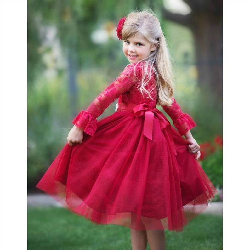 1c19f01e9c Lace flower girl dress Red Tulle Lace Flower girl dress