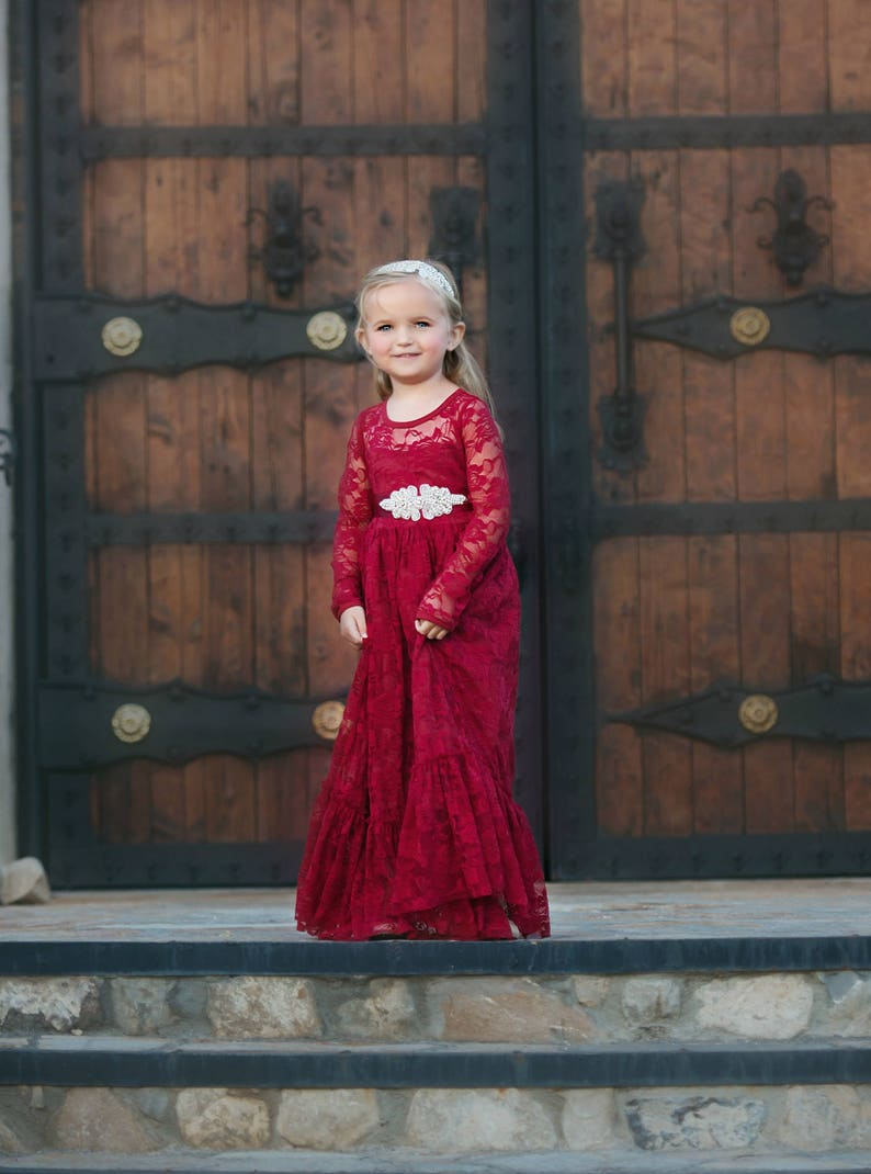 b2bd2399ee Red lace flower girl dress girl lace dresses long sleeve red