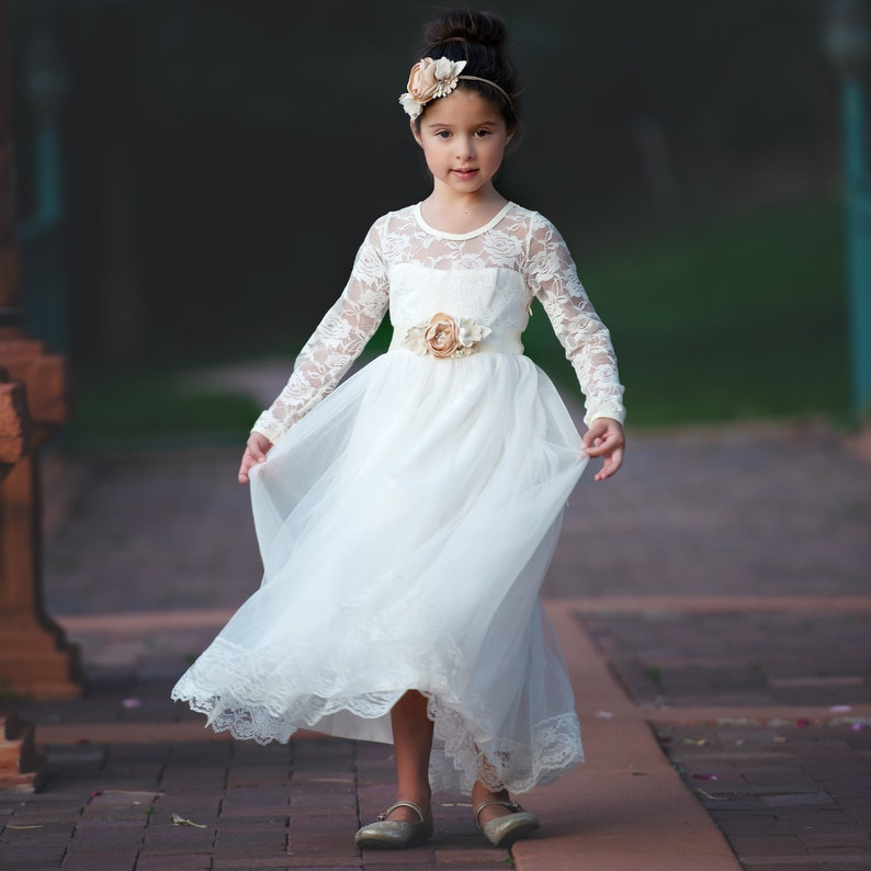 6997ab006d Flower girl dress girl lace dress Communion ivory lace