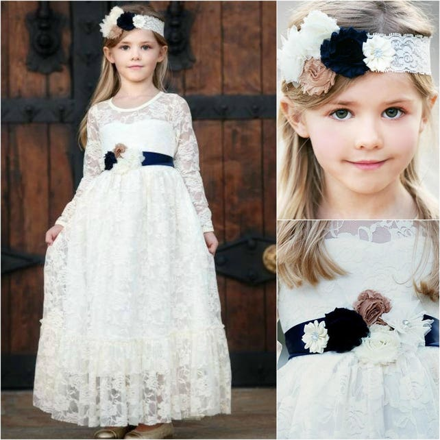 Navy blue flower girl dress girls lace dress ivory lace etsy image 0 mightylinksfo