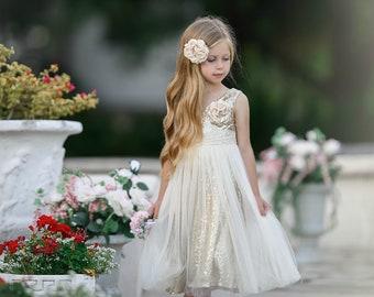 Flower girl dress, Ivory gold flower girl dress,Flower girl dresses,Rustic Flower girl dress,Ivory Flower girl dress,Country flower girl 5