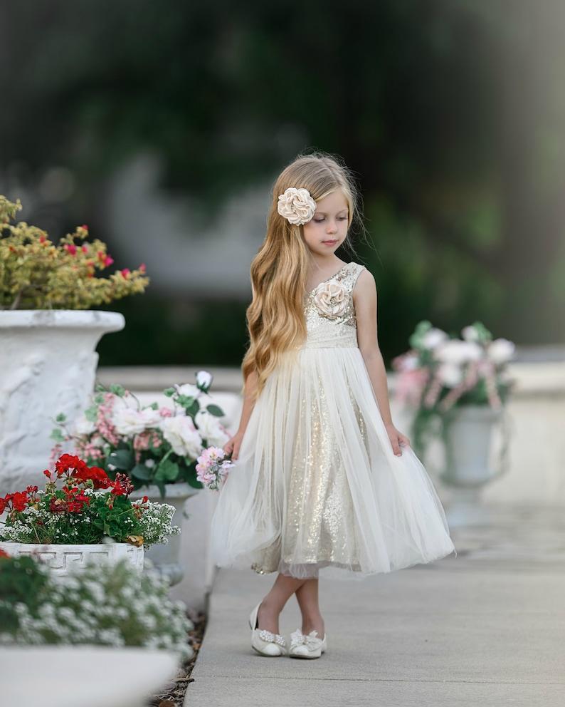 Flower girl dress Ivory gold flower girl dress Flower girl image 0