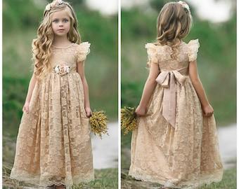 Lace flower girl dress,flower girl dresses, Lace baby dress,rustic girl dress,country flower girl, champagne dress, junior bridesmaids 113