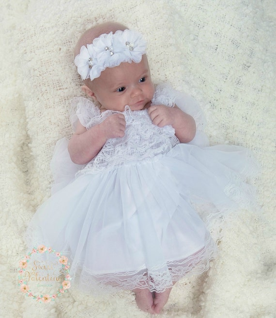 Flower Girl Dressbaptism Dress White Lace Dress Baby Girl Dress Baby Dress Christening Dress Junior Bridesmaid Rustic Wedding Dress