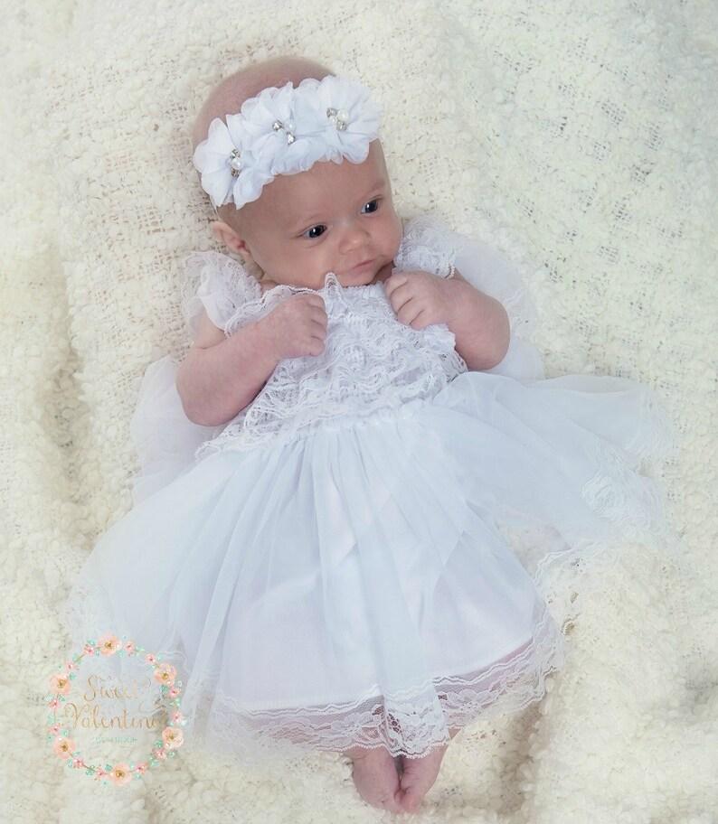 8eaf0209611 Flower Girl dressbaptism dress White lace dress baby girl