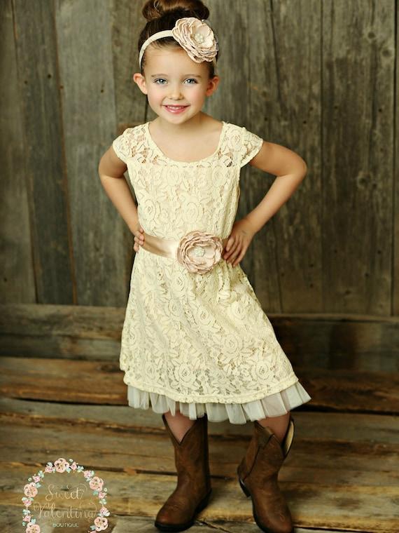 Cream Flower Girl Dress Lace Baby Dress Rustic Flower Girl Dress Country Flower Girl Dress Lace Girls Dresses Flower Girl Dress