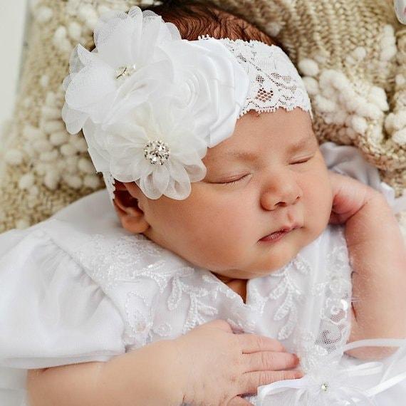 White Baptism Headband Christening Headband Baptismal Hair  14f294c4739