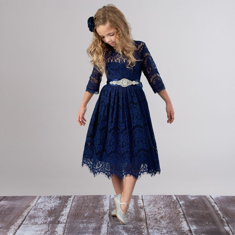 eef1e994cfd Flower girl dress Navy blue Lace dress Bohemian Flower girl