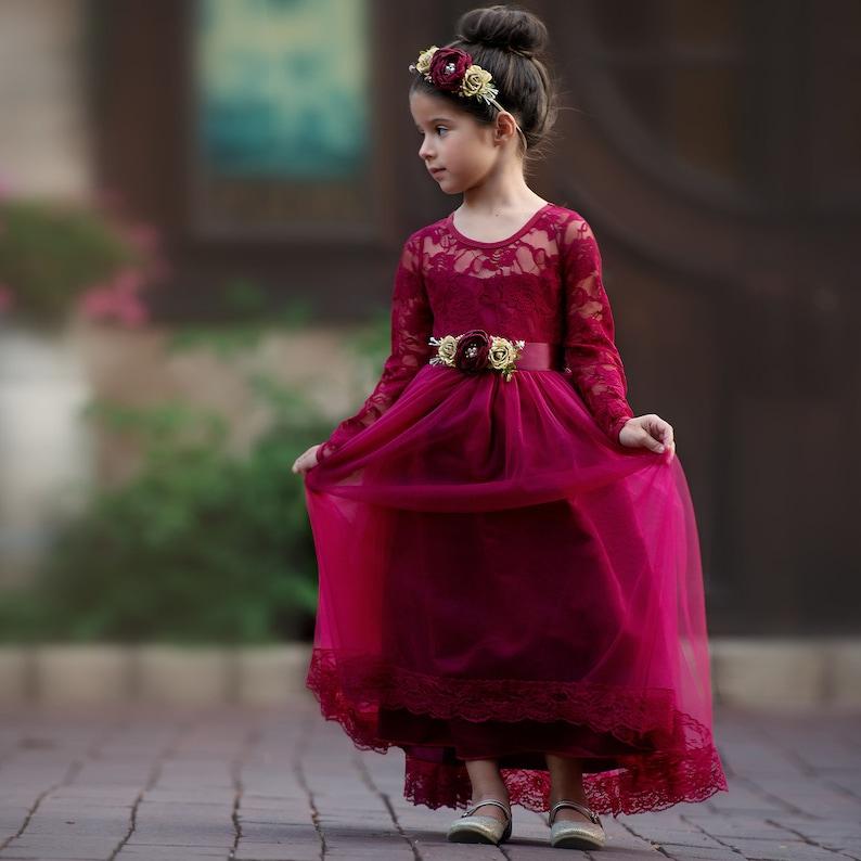 dd0b94b03 Christmas dress Burgundy lace flower girl dress Flower girl | Etsy
